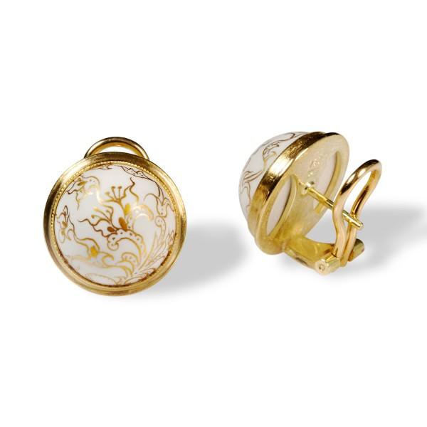 Weiße Porzellanperle als Ohrclip in 750/- Gelbgold