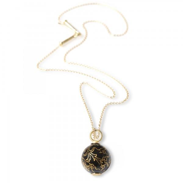 Schwarze Porzellanperle an Goldkette (750-Gold)