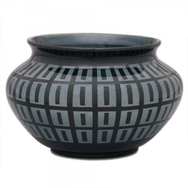 Werner Burri's Vase Ritzdekor 662 Schwarzgrün